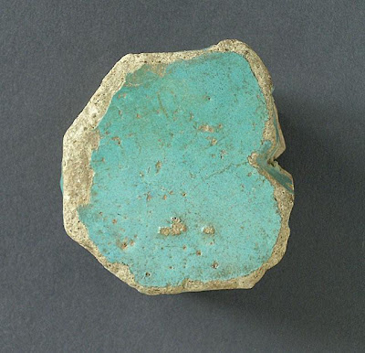 Tile | Origin: Algeria, Qalat bani Hammad (?) | Period:  second half of 11th century | Collection: The Madina Collection of Islamic Art, gift of Camilla Chandler Frost (M.2002.1.340) | Type: Ceramic; Architectural element, Earthenware, glazed, 2 3/8 x 2 3/8 in. (6.03 x 6.03 cm)