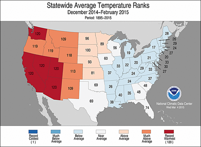 Rankings for average winter temperatures for each state in the Lower 48 for the winter of 2014-2015. Photo: NOAA / NCDC
