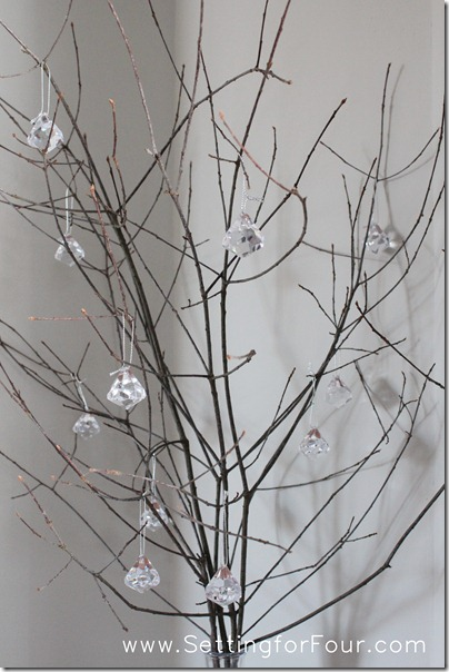 Winter Wedding Idea - Sparkly Branch Centerpiece from Setting for Four #diy #tutorial #wedding #winter #decor #centerpiece