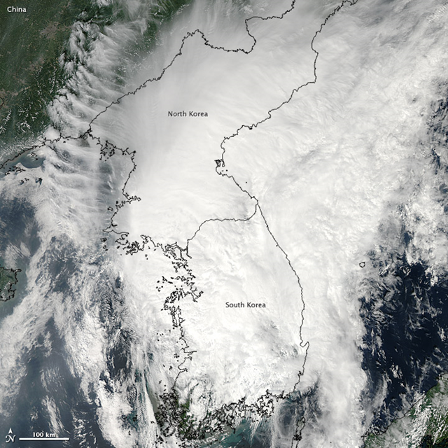 The Moderate Resolution Imaging Spectroradiometer (MODIS) on NASA's Aqua satellite captured this natural-color image of Tropical Storm Tembin on 30 August 2012. Tembin engulfed the Korean Peninsula, just as Bolaven had days earlier. NASA image courtesy Jeff Schmaltz, LANCE MODIS Rapid Response Team at NASA GSFC