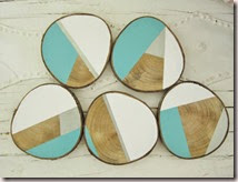 custom tree slice wood color blocked coasters