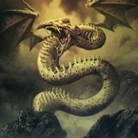 DRAGON ALADO SOBRE CALAVERAS
