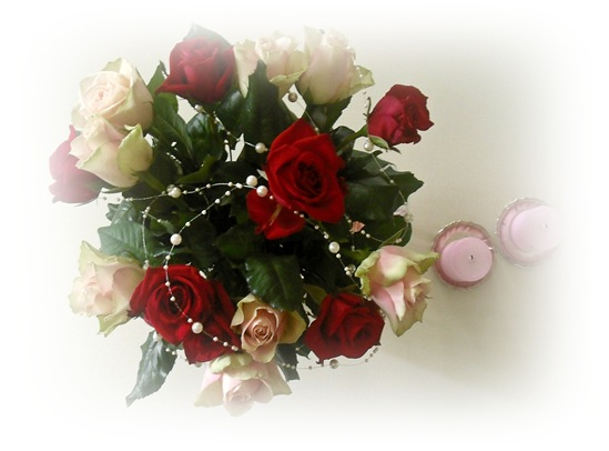 roser og rosa lys
