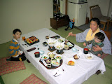 A traditional Japanese dinner, served in our room at the Nakamuraya Ryokan - http://www.japaneseguesthouses.com/db/sapporo/nakamuraya.htm