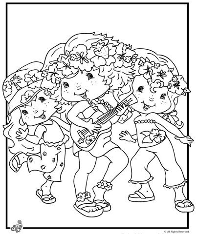 Desenho da moranguinho e amigas para colorir