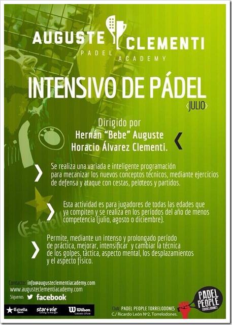 Academia Auguste Clementi: Cursos Intensivos Pádel Julio 2014 en Club Padel People.