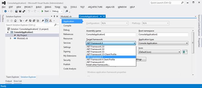 Target Profiles disponíveis no Visual Studio 2012