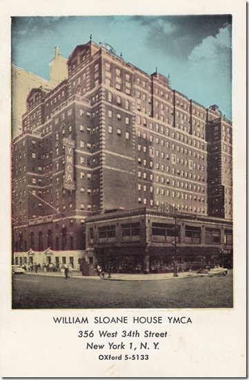 William Sloane House YMCA New York City, Postcard pg. 1