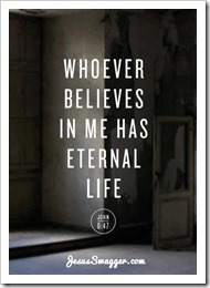 Whoever believes in me has eternal life