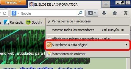 Imagen de la opción Suscribirse por RSS de Mozilla Firefox