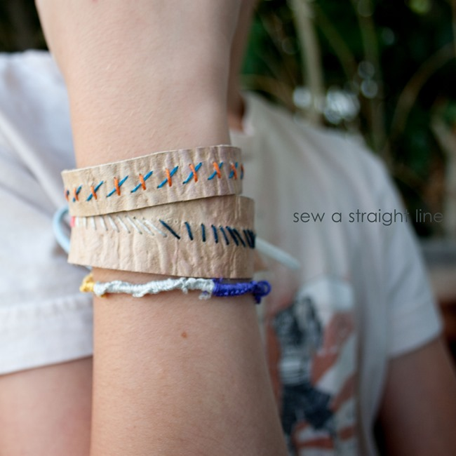 leather bracelets sew a straight line-2