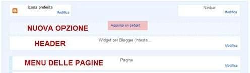 aggiungi un gadget blogger intestazione