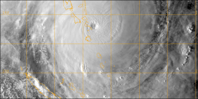 Satellite view of Cyclone Pam as it passes over the island nation of Vanuatu on 13 March 2015. Photo: caledosphere.com