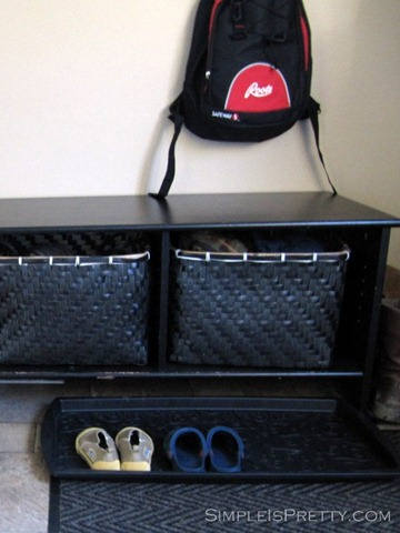 simpleispretty.com: Extra Kid's Shoe Storage in Porch