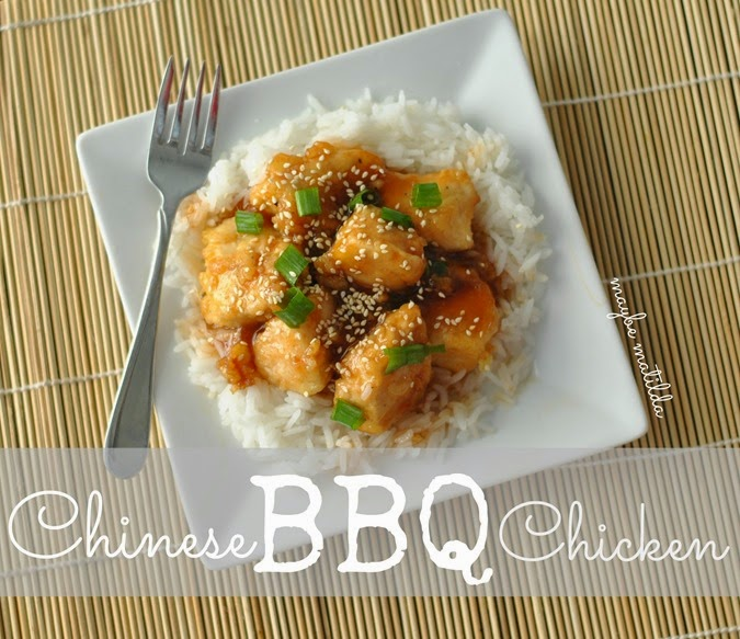 Chinese BBQ Chicken--yummy sweet and sour chicken over flavorful Success Jasmine Rice