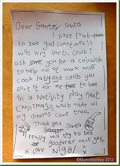 Nigel's letter to Santa