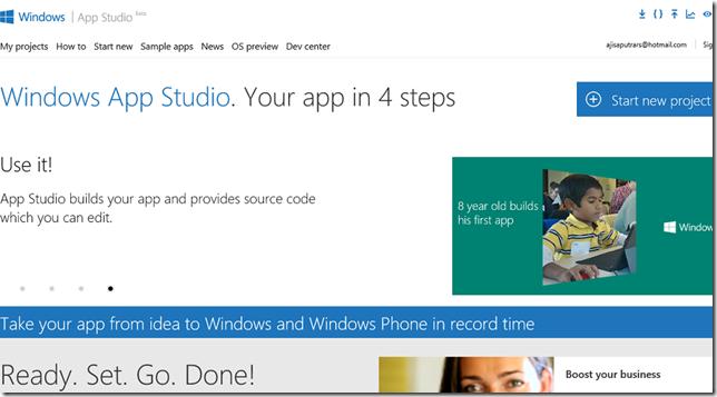 Windows App Studio: Membuat Aplikasi Windows dan Windows Phone dengan mudah.