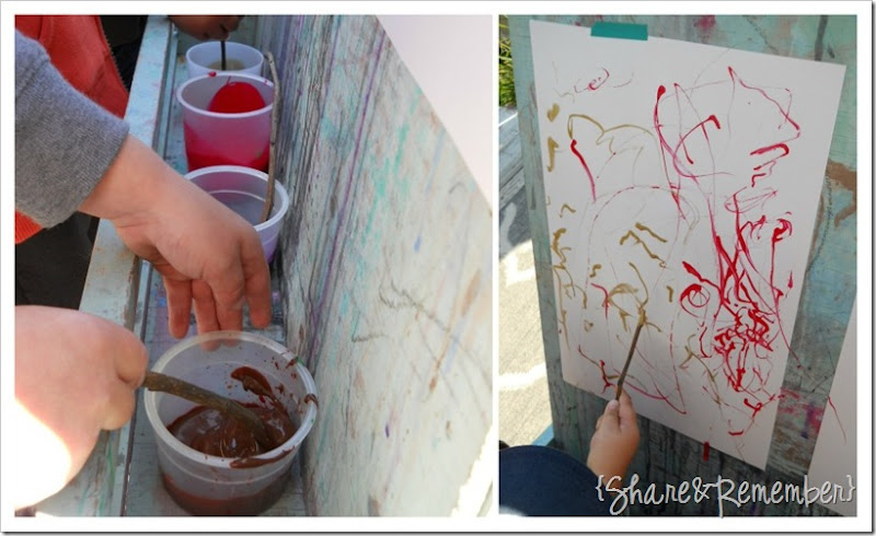 painting with sticks in preschool 2