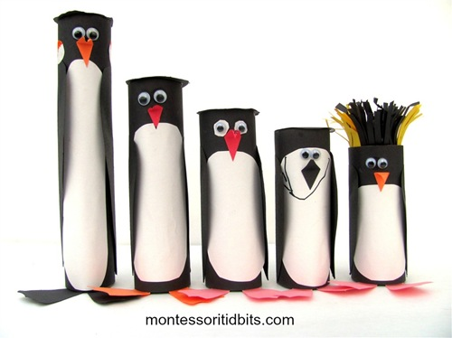 5 penguins from Antartica craft / Montessori Tidbits