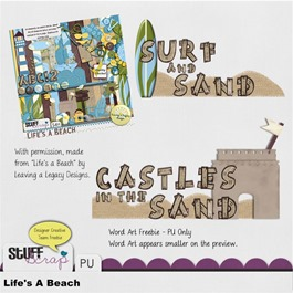 Leaving a Legacy Designs - Life's a Beach - Word Art Freebie Preview