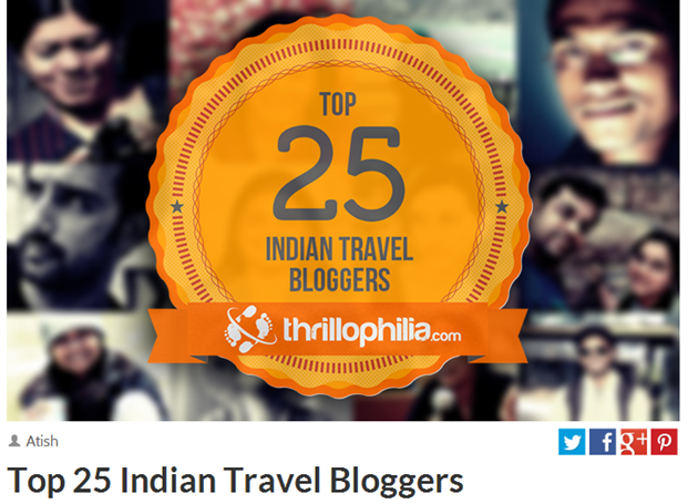 Beontheroad.com featured as one of the top 25 travel blogs in India