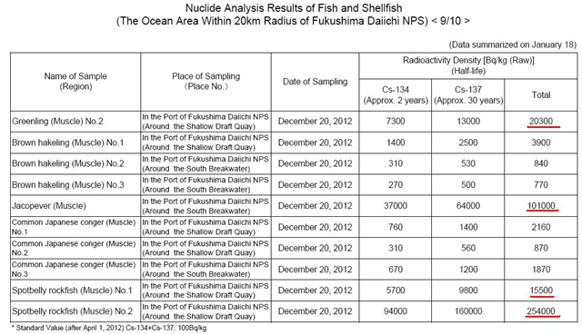 Nuclide analysis results from fish and shellfish within 20km radius of Fukushima Daiichi nuclear plant, 18 January 2013. The 'murasoi' spotbelly rockfish had 254,000 Bq/kg of radioactive cesium; the jacopever had 110,000 Bq/kg; greenling had 40,000 Bq/kg of cesium. Another spotbelly rockfish had 140,000 Bq/kg cesium. Graphic: TEPCO via ex-skf.blogspot.com