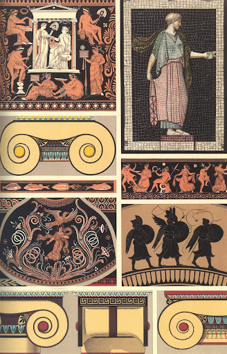 Greek art motifs from ionic capitals, ceramics and bas-relief.