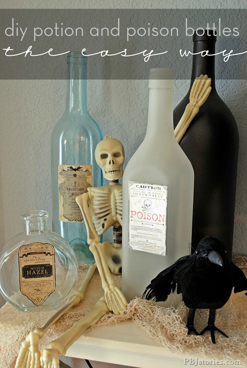 Easiest way to label bottles for Halloween
