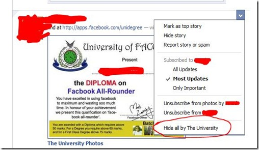 Hiding spams on FB profile