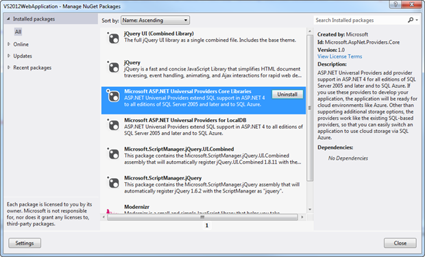 NuGet packages in the Visual Studio 2012 template