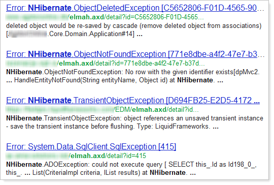 Sites using NHibernate as exposed by ELMAH