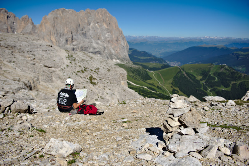 A cairn marks the way near the Sella Towers, in the Italian Dolomites.