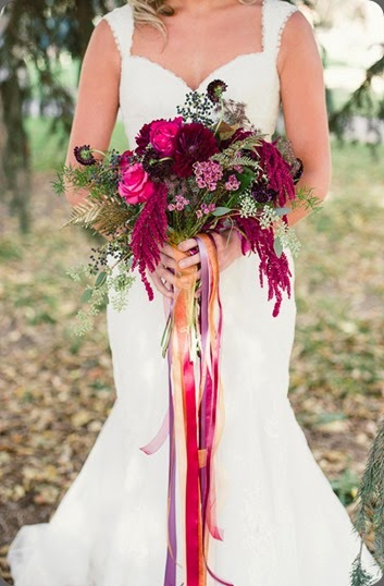 ribbon pinkweddingbouquet Lori Kennedy Photography and lace and lilies