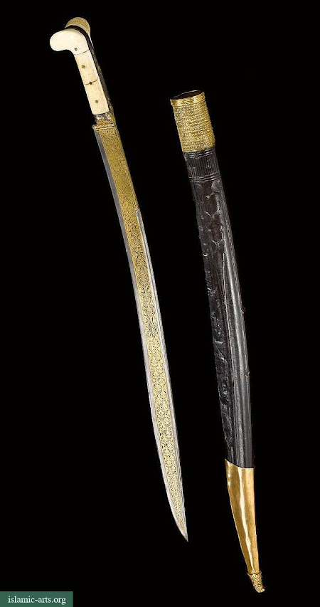 AN OTTOMAN IVORY-HILTED SWORD (YATAGHAN) AND SCABBARD, TURKEY,