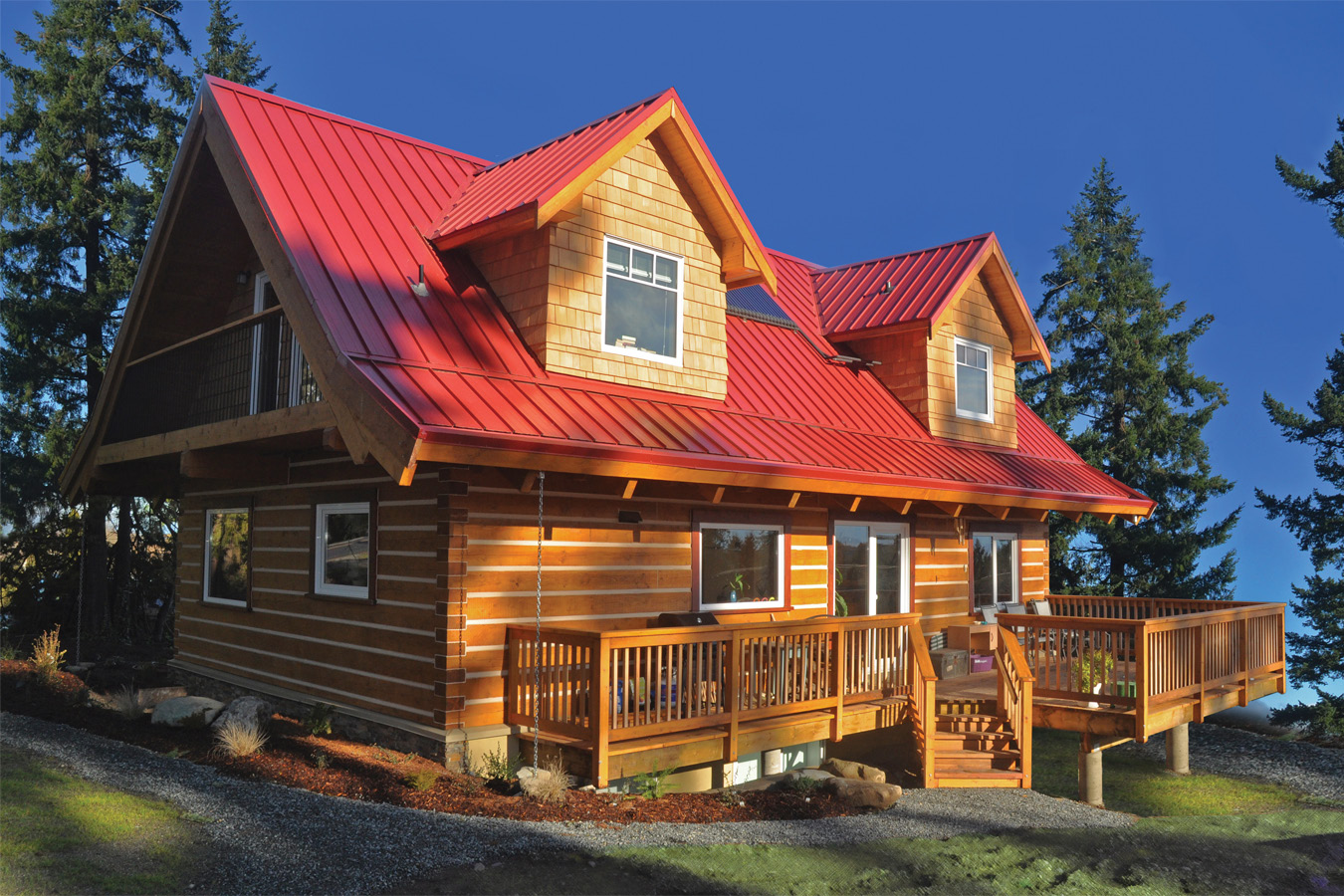 Marvelous photograph of your own beautiful eco friendly energy efficient custom log home  with #AA7721 color and 1350x900 pixels