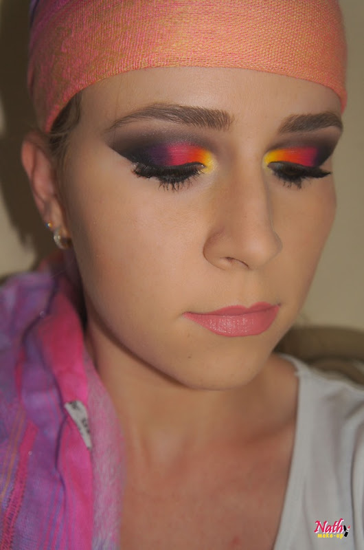 maquiagem colorida tons opacos