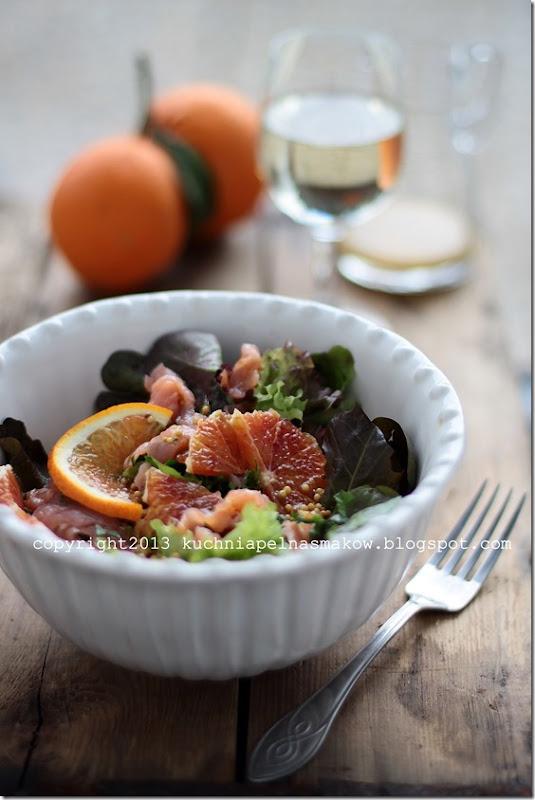 pomarańcza tarocco, sałata, łosoś (3)