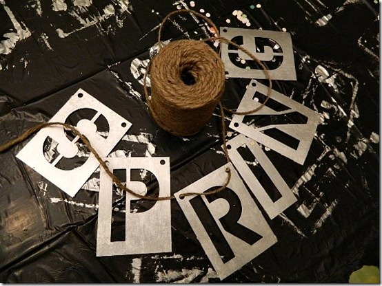 faux metal letters using stencils and paint 4