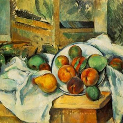 Paul Cezanne (1895-1900): Table, Napkin and Fruit. The Barnes Foundation. Merion. Pennsylvania.. Postimpresionismo