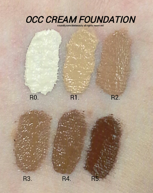 OCC Colour Creme Concentrate Foundation; Swatches of Shades R0, R1, R2, R3, R4, R5