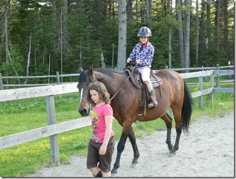 Katy and Taylor riding Lil&#39; Bud 2011 022