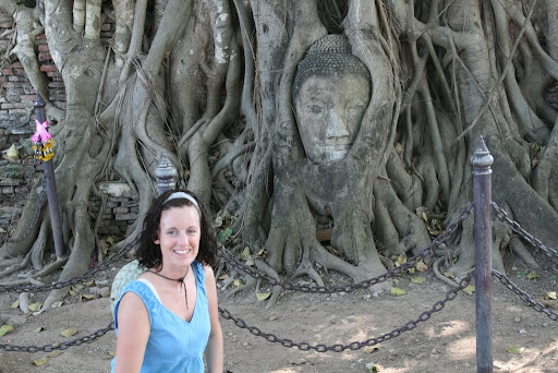 The famous Buddha&#039;s head entombed in the roots of a tree.