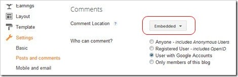 embedded comment setting