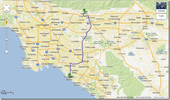 Glendora to Huntington Beach Map
