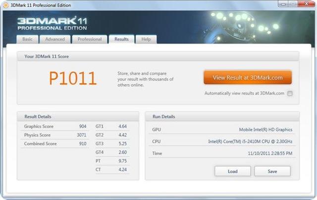 DELL Inspiron N4110 3dmark11 benchmark.