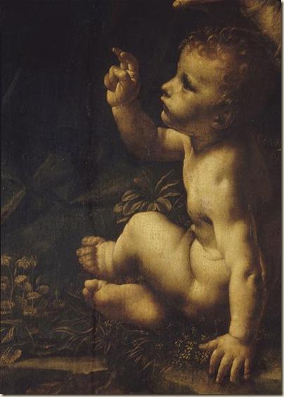 Leonard de Vinci,Détail de la Vierge au rocher