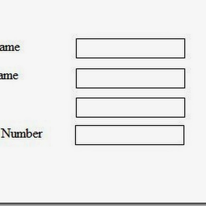 A Simple form using label and text field