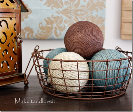 diy projects with jute--make decorative jute wrapped styrofoam balls that you can paint any color