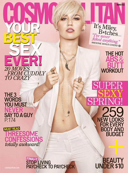 Miley Cyrus on Cosmopolitan March 2013