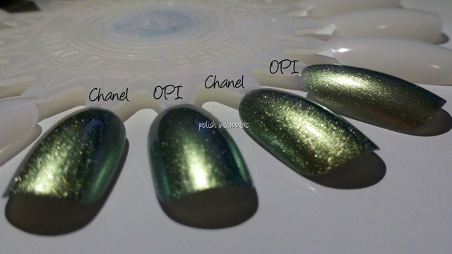 Chanel Peridot vs. OPI Just Spotted the Lizard 2 coats